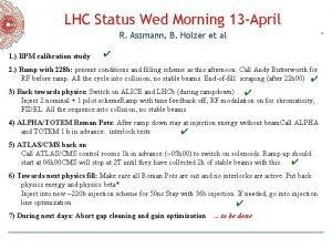 LHC Status Wed Morning 13 April R Assmann