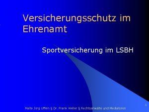 Versicherungsschutz im Ehrenamt Sportversicherung im LSBH Malte Jrg