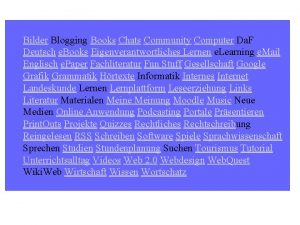 Bilder Blogging Books Chats Community Computer Da F