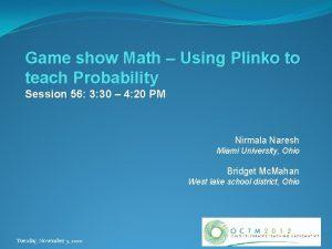 Game show Math Using Plinko to teach Probability