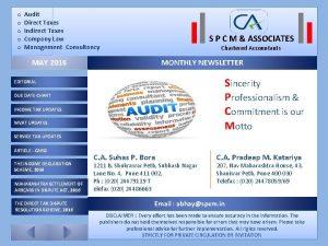 o Audit o Direct Taxes o Indirect Taxes