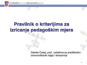 Pravilnik o kriterijima za izricanje pedagokim mjera Zdenka