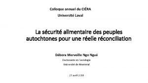 Colloque annuel du CIRA Universit Laval La scurit
