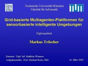 Technische Universitt Mnchen Fakultt fr Informatik Gridbasierte MultiagentenPlattformen