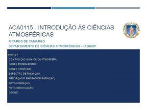 ACA 0115 INTRODUO S CINCIAS ATMOSFRICAS RICARDO DE