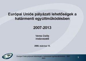 Eurpai Unis plyzati lehetsgek a hatrmenti egyttmkdsben 2007