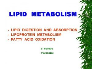 LIPID METABOLISM LIPID DIGESTION AND ABSORPTION LIPOPROTEIN METABOLISM
