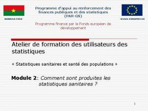 BURKINA FASO Programme dappui au renforcement des finances