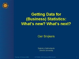 Getting Data for Business Statistics Whats new Whats