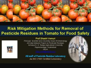 Risk Mitigation Methods for Removal of Pesticide Residues