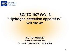 ISO TC 197 WG 13 Hydrogen detection apparatus