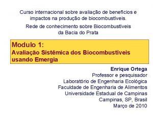 Curso internacional sobre avaliao de benefcios e impactos