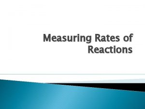 Measuring Rates of Reactions Rates of Reaction The