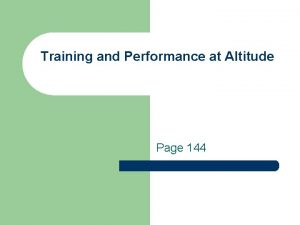 Training and Performance at Altitude Page 144 1
