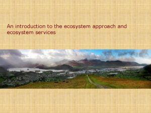 An introduction to the ecosystem approach and ecosystem