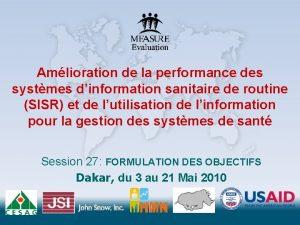 Amlioration de la performance des systmes dinformation sanitaire