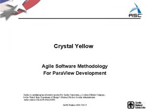 Crystal Yellow Agile Software Methodology For Para View