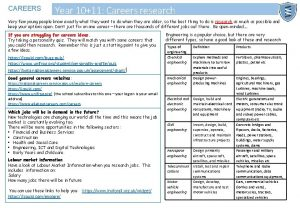 CAREERS Year 1011 Careers research Very few young