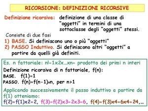 RICORSIONE DEFINIZIONI RICORSIVE Definizione ricorsiva definizione di una
