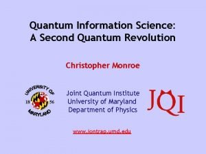 Quantum Information Science A Second Quantum Revolution Christopher