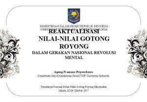 KEMENTERIAN DALAM NEGERI REPUBLIK INDONESIA DIREKTORAT JENDERAL BINA