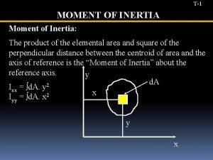 T1 MOMENT OF INERTIA Moment of Inertia The