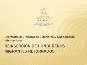 Secretara de Relaciones Exteriores y Cooperacin Internacional REINSERCIN
