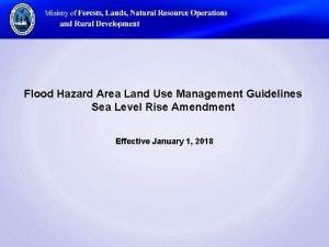 Flood Hazard Area Land Use Management Guidelines Sea