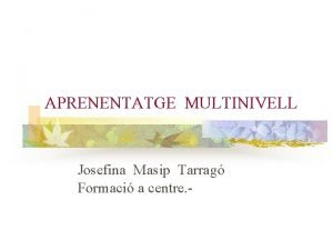 APRENENTATGE MULTINIVELL Josefina Masip Tarrag Formaci a centre