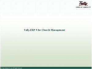 Tally ERP 9 for Church Management Tally Solutions