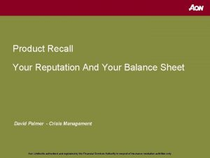 Product Recall Your Reputation And Your Balance Sheet