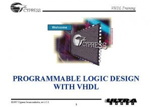 VHDL Training PROGRAMMABLE LOGIC DESIGN WITH VHDL 1997