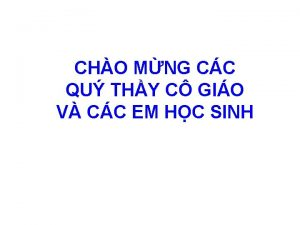 CHO MNG CC QU THY C GIO V