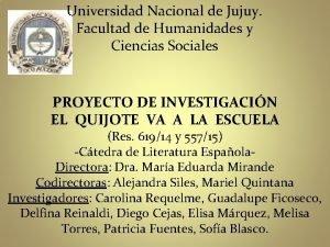 Universidad Nacional de Jujuy Facultad de Humanidades y