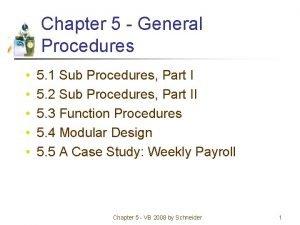 Chapter 5 General Procedures 5 1 Sub Procedures