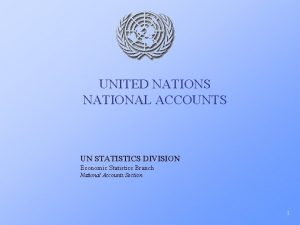 UNITED NATIONS NATIONAL ACCOUNTS UN STATISTICS DIVISION Economic