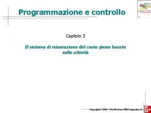 Programmazione e controllo Capitolo 3 Il sistema di