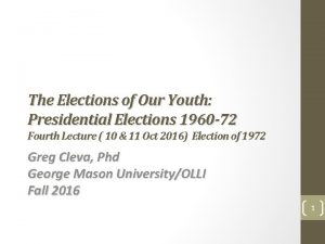 The Elections of Our Youth Presidential Elections 1960