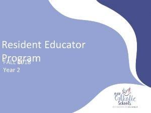 Resident Educator Program FALL 2018 Year 2 Orientation