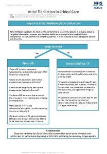 Raigmore Critical Care Guidelines Atrial Fibrillation in Critical