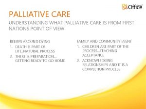 PALLIATIVE CARE UNDERSTANDING WHAT PALLIATIVE CARE IS FROM