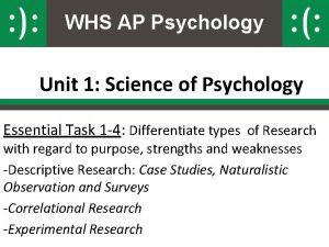 WHS AP Psychology Unit 1 Science of Psychology