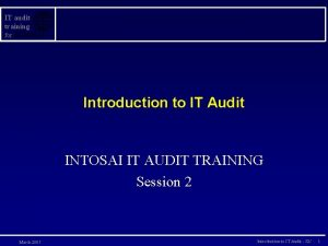IT audit training for Introduction to IT Audit