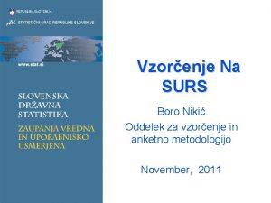 Vzorenje Na SURS Boro Niki Oddelek za vzorenje