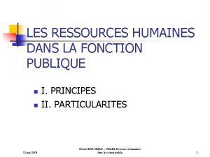 LES RESSOURCES HUMAINES DANS LA FONCTION PUBLIQUE n