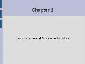 Chapter 2 TwoDimensional Motion and Vectors Vectors Shmectors