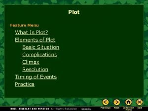 Plot Feature Menu What Is Plot Elements of