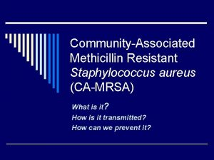 CommunityAssociated Methicillin Resistant Staphylococcus aureus CAMRSA What is