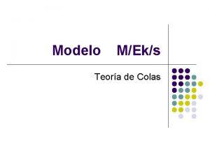 Modelo MEks Teora de Colas Teora modelo MEks