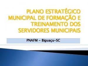 PLANO ESTRATGICO MUNICIPAL DE FORMAO E TREINAMENTO DOS